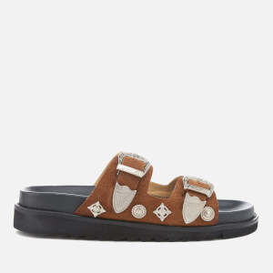 Toga Pulla Women's Leather Double Strap Flat Sandals - Tan