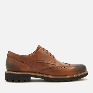 Clarks Men's Batcombe Wing Leather Brogues - Dark Tan