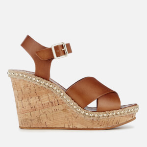 Dune Women's Karena Leather Wedged Sandals - Tan