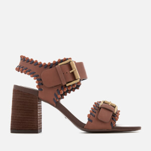 See By Chloé Women's Leather Blocked Heeled Sandals - Brown