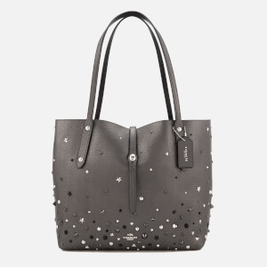Coach Women's Market Tote Bag in Metallic with Star Rivets - Metallic Graphite