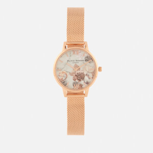 Olivia Burton Women's Marble Florals Watch - Rose Gold Mesh