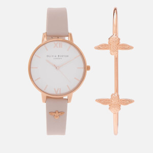 Olivia Burton Women's Bee Mine Watch And Bangle Gift Set - Blush and Rose Gold