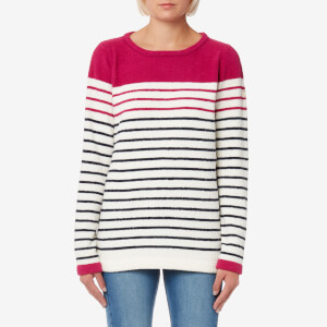 Joules Women's Seaham Textured Breton Sweatshirt - Navy Berry Stripe