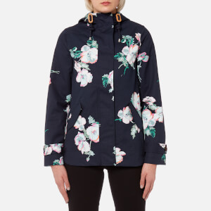 Joules Women's Coast Print Waterproof Hooded Jacket - Navy Poppy
