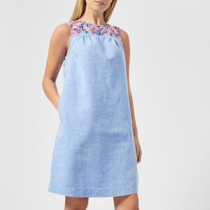 Joules Women's Indria Embroidered Yoke Dress - Light Blue Steel