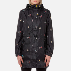 Joules Women's Golightly Waterproof Packaway Jacket - Black Chic Dogs