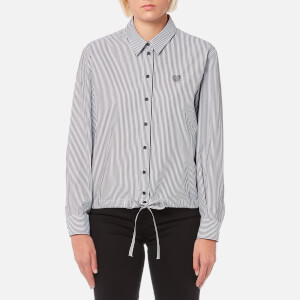 KENZO Women's Striped Cotton Poplin Drawstring Shirt - Black