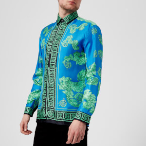 Versace Collection Men's Printed Silk Shirt - Bluette