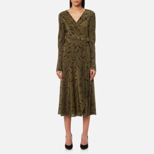Diane von Furstenberg Women's Long Sleeve Midi Woven Wrap Dress - Shelton Olive