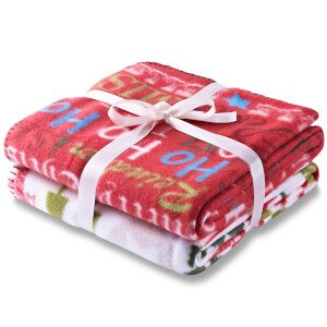 Catherine Lansfield Christmas Slogans Twin Pack Throw