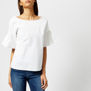 Armani Exchange Women's White Frill Sleeve Top - White