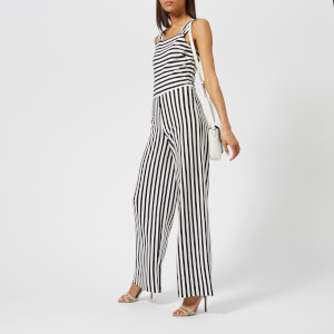 Armani Exchange Women's Striped Ponte Jumpsuit - Navy/White