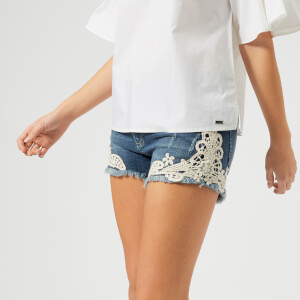 Armani Exchange Women's Denim Lace Shorts - Indigo Denim