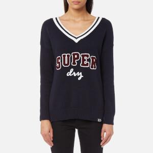 Superdry Women's Super Logo V-Neck Knitted Jumper - Navy