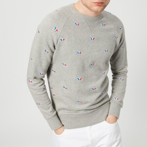 Maison Kitsuné Men's All Over Tricolor Sweatshirt - Grey Melange
