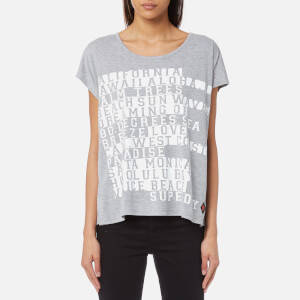 Superdry Women's Boxy Text T-Shirt - Sky Grey Marl