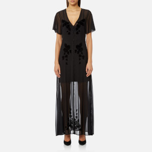 MINKPINK Women's Drifters Flocked Mesh Maxi Dress - Black