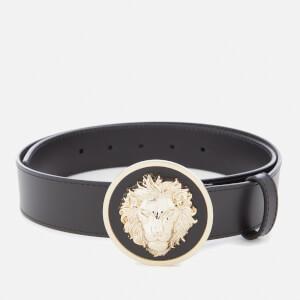 Versus Versace Men's Round Buckle Belt - Black/Light Gold
