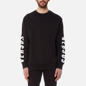 Versus Versace Men's Zipped Sleeve Logo Sweatshirt - Black/Stampa