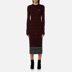 McQ Alexander McQueen Women's Striped Knitted Dress - Black/Amp Red/White