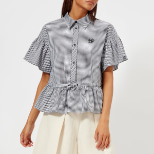 McQ Alexander McQueen Women's Bubble Sleeve Shirt - White Gingham
