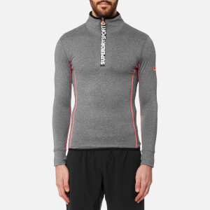 Superdry Men's Gym Sport Runner Zip Henley Top - Grey Grit