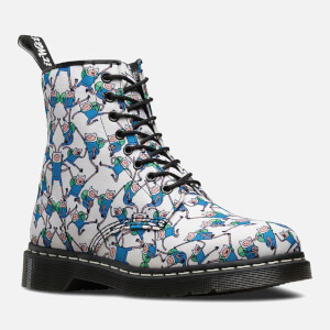 Dr. Martens Toddlers' Castel Canvas Finn Print Lace Low Boots - Blue/White: Image 2