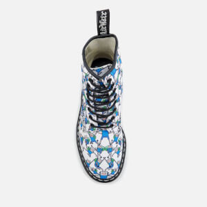 Dr. Martens Toddlers' Castel Canvas Finn Print Lace Low Boots - Blue/White: Image 5
