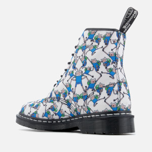 Dr. Martens Toddlers' Castel Canvas Finn Print Lace Low Boots - Blue/White: Image 6