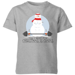 All I Want For Christmas Is Gains Kids' T-Shirt - Grey