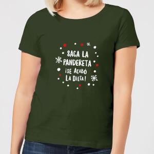 """Camiseta Navidad """"Saca La Pandereta"""" - Mujer - Verde oscuro"""
