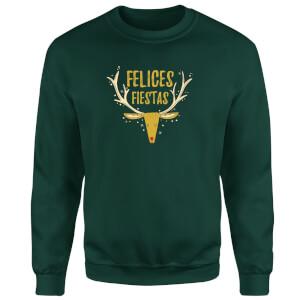 Felices Fiestas Reindeer Sweatshirt - Forest Green