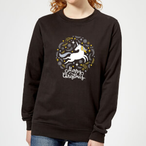 Unicorn Christmas Frauen Sweatshirt - Schwarz