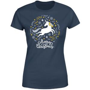 Unicorn Christmas Women's T-Shirt - Navy
