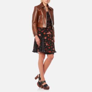 Coach Women's Landscape Leather Jacket - Dark Teak: Image 3