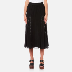 Coach Women's Prairie Rivets Long Skirt - Black