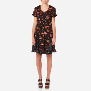 Coach Women's Outerspace Printed Pleated Dress - Black/Brown