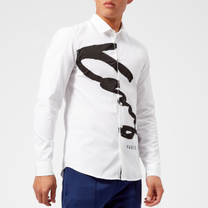KENZO Men's Slim Fit Large Signature Shirt - White