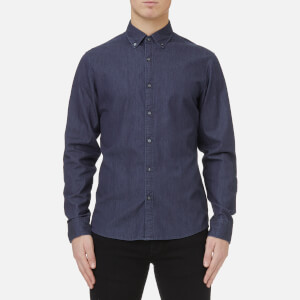 Michael Kors Men's Slim Fit Clean Dark Washed Denim Shirt - Dark Wash