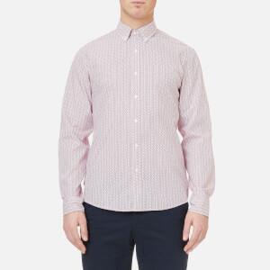 Michael Kors Men's Slim Fit Scattered Micro Leaf Print Shirt - Garnet