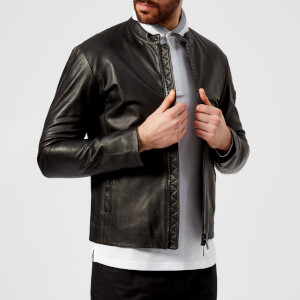 Emporio Armani Men's Leather Biker Jacket - Nero Nero