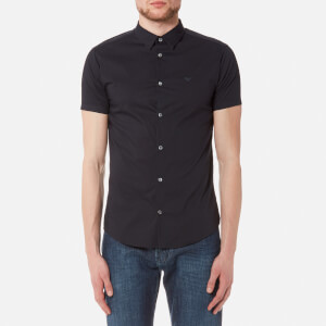 Emporio Armani Men's Small Logo Short Sleeve Shirt - Blu