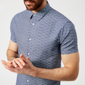 Emporio Armani Men's Patterned Short Sleeve Shirt - Fantasia Blu