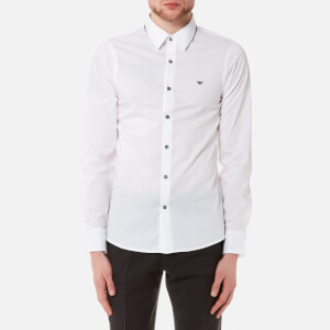 Emporio Armani Men's Long Sleeve Shirt - Bianco Ottico