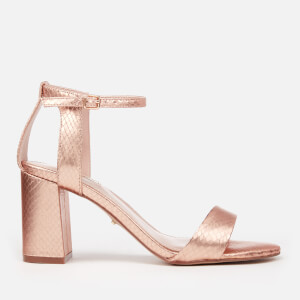 Carvela Women's Gigi Snake Print Block Heeled Sandals - Bronze