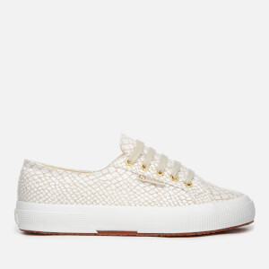 Superga Women's 2750 Fantasy Linen Trainers - Beige Natural/Crocco White
