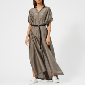 Karl Lagerfeld Women's Maxi Shirt Dress - Khaki