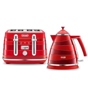 De'Longhi Avvolta Kettle and 4 Slice Toaster - Red