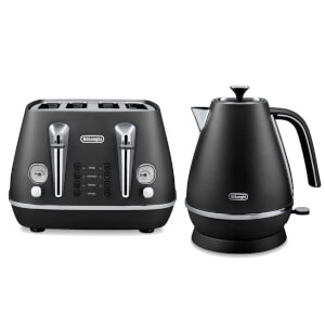 De'Longhi Distinta 4 Slice Toaster and Kettle Bundle - Black Finish